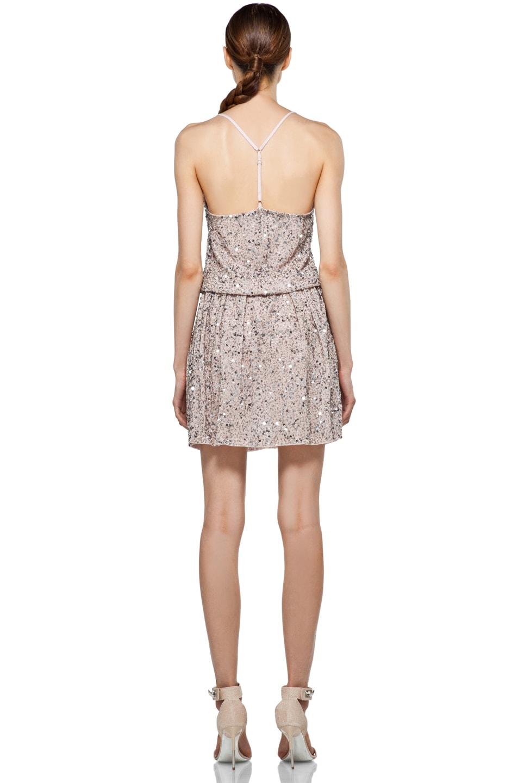 Image 4 of Alice + Olivia Bridget Sequin Blouson Dress in Dusty Pink