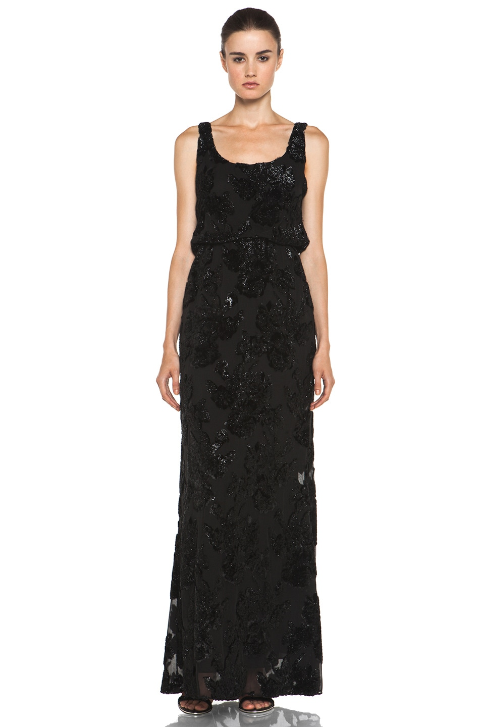 Image 1 of Alice + Olivia Shirley Long Blouson Dress in Black