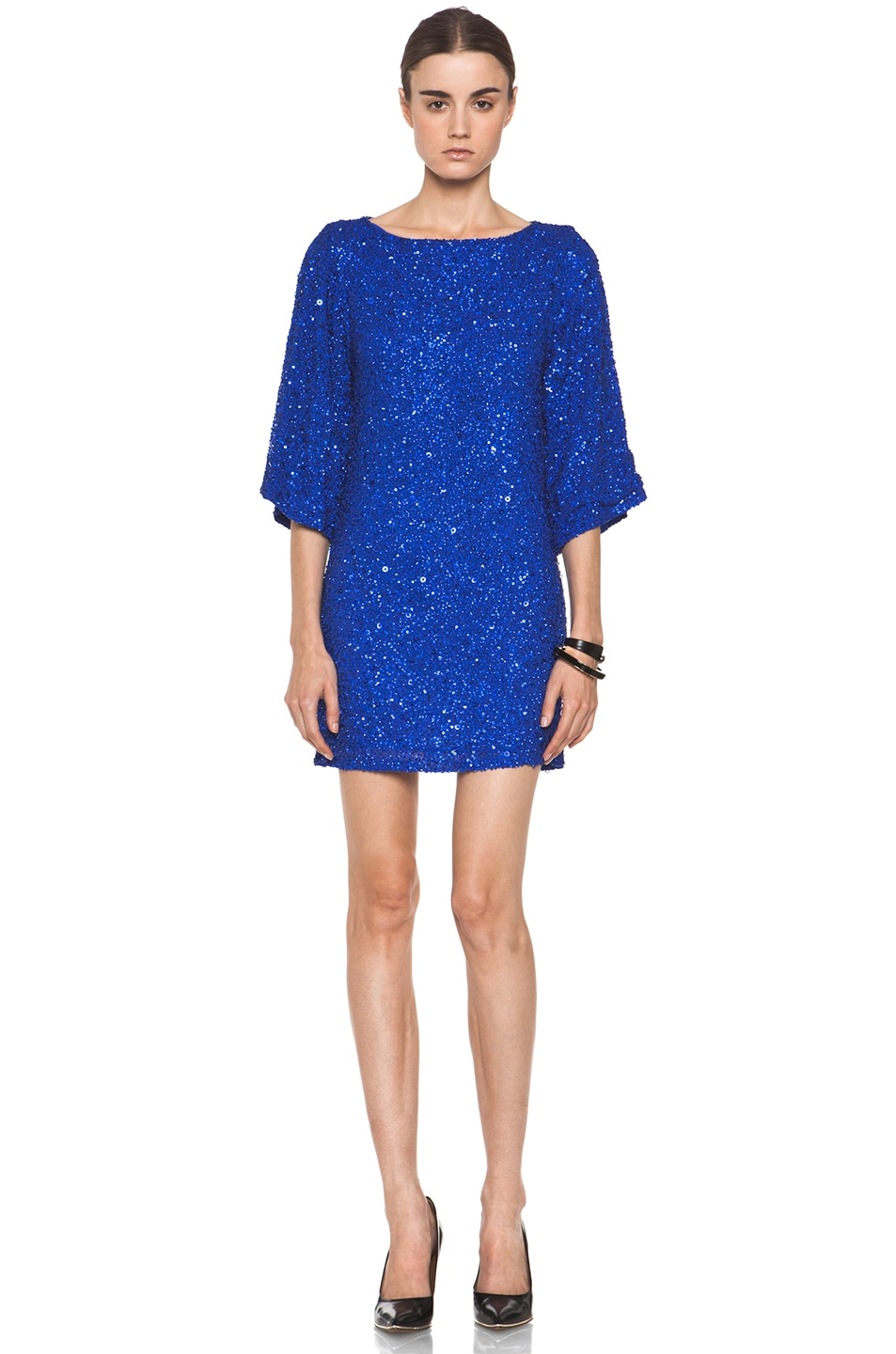 Image 1 of Alice + Olivia Lari Bell Sleeve Sequin Tunic Dress in Cobalt