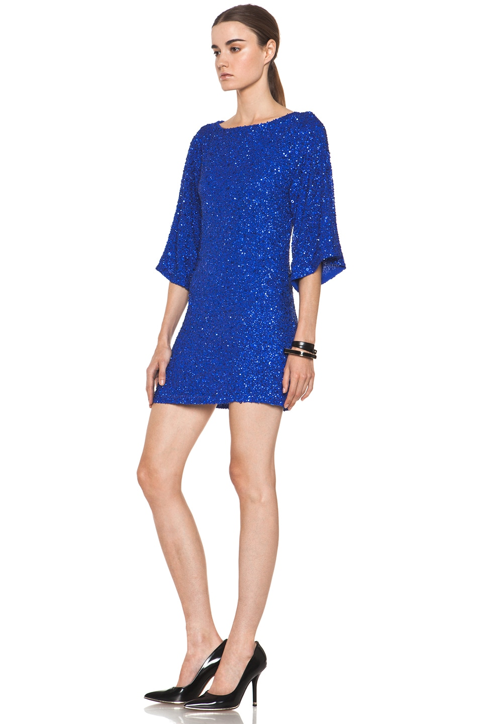 Image 2 of Alice + Olivia Lari Bell Sleeve Sequin Tunic Dress in Cobalt