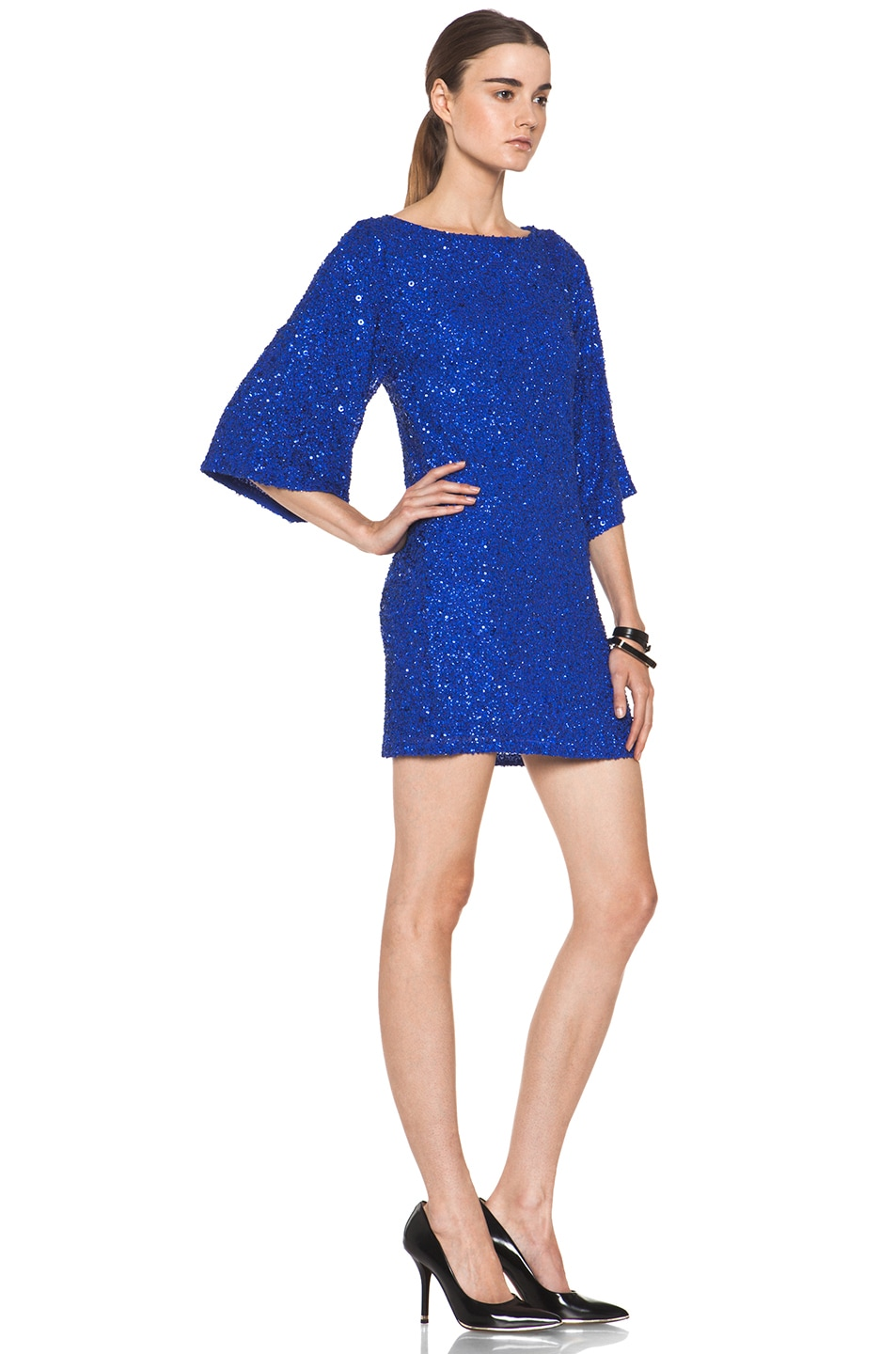 Image 3 of Alice + Olivia Lari Bell Sleeve Sequin Tunic Dress in Cobalt