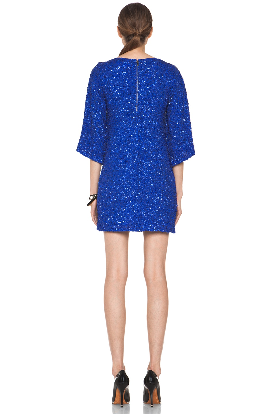 Image 4 of Alice + Olivia Lari Bell Sleeve Sequin Tunic Dress in Cobalt