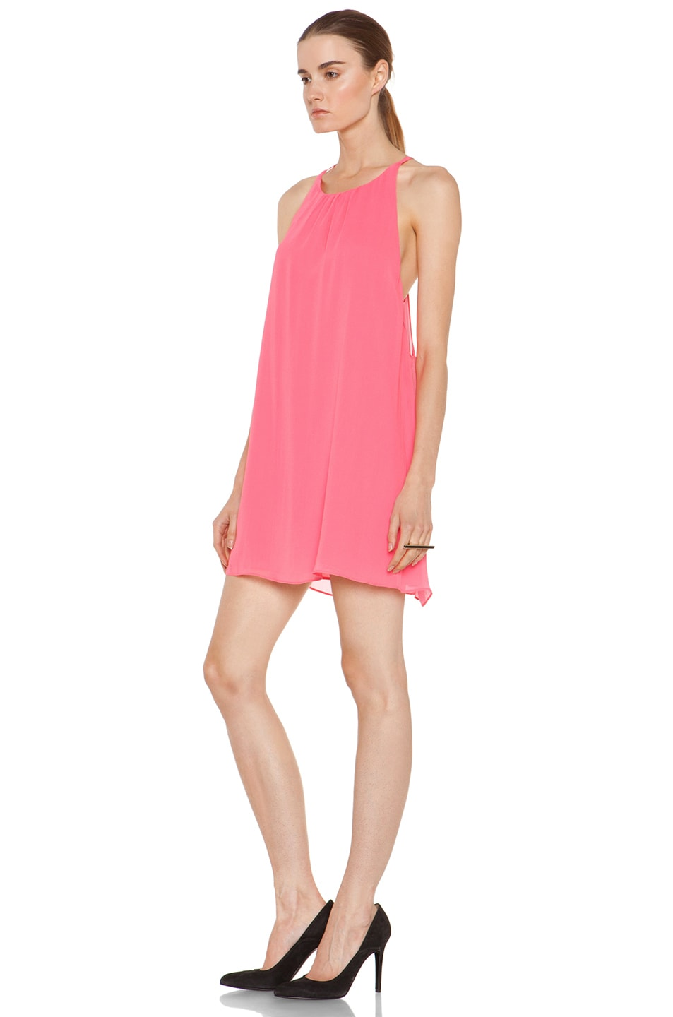Image 2 of Alice + Olivia Peggy Trapeze Hem Tank Dress in Neon Pink