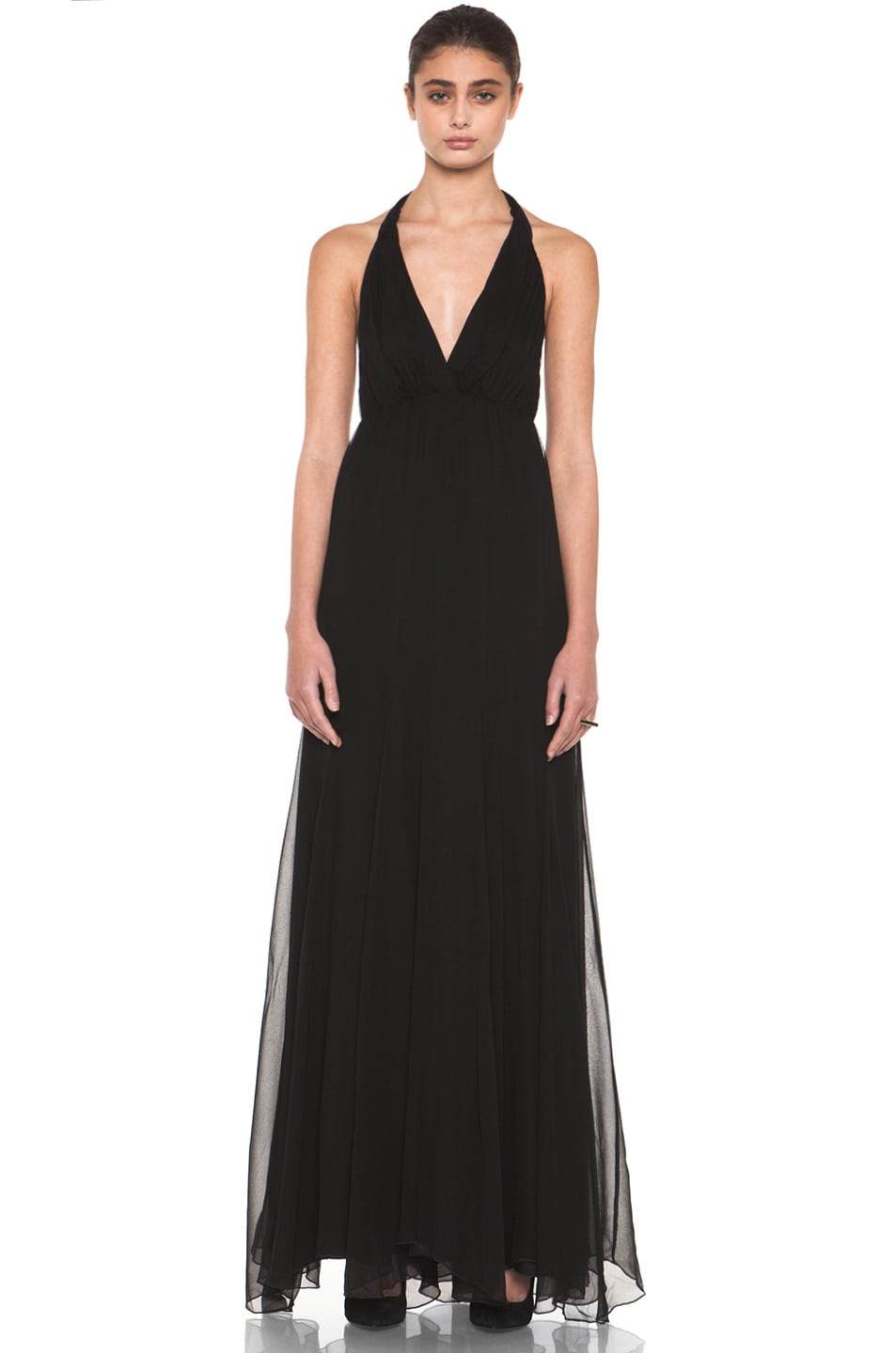 Image 1 of Alice + Olivia Alberta Long Halter Dress in Black