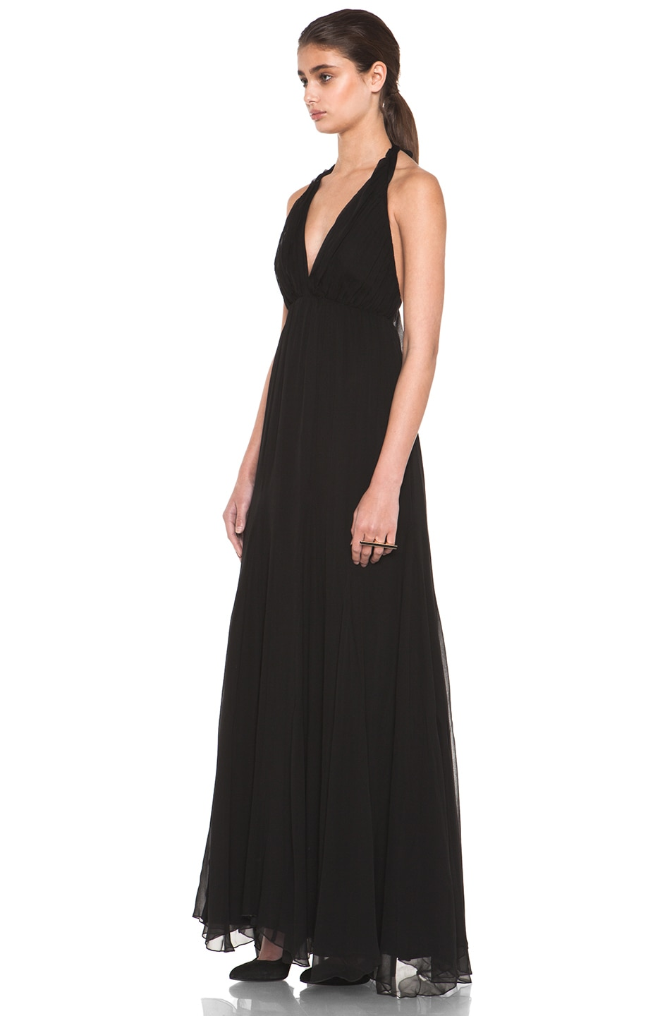 Image 2 of Alice + Olivia Alberta Long Halter Dress in Black