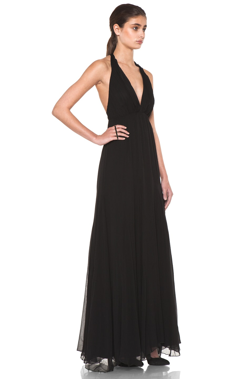 Image 3 of Alice + Olivia Alberta Long Halter Dress in Black