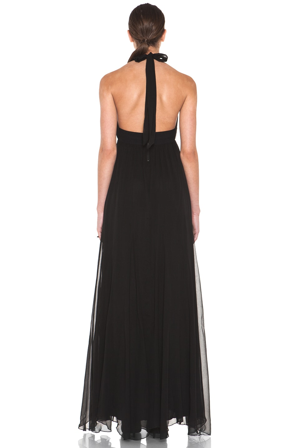 Image 4 of Alice + Olivia Alberta Long Halter Dress in Black