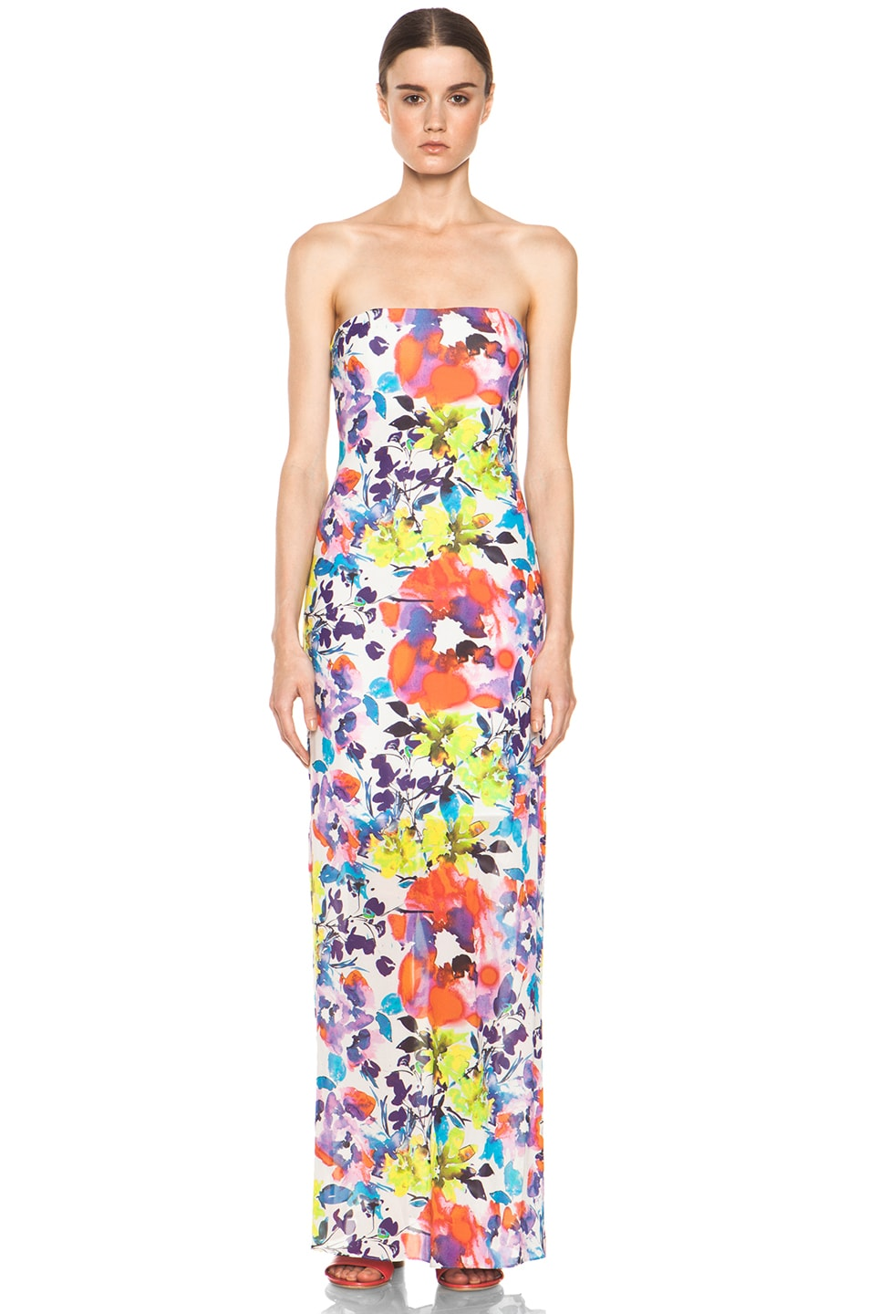 Image 1 of Alice + Olivia Koko Strapless Maxi Dress in Cruise Floral