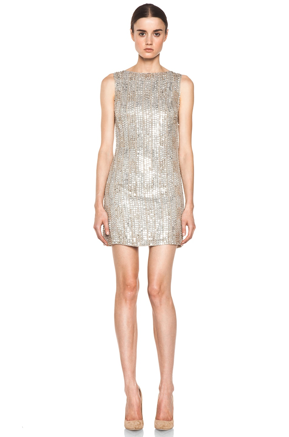 Image 1 of Alice + Olivia Leighton Embellished A Line Dress in Silver & Gold