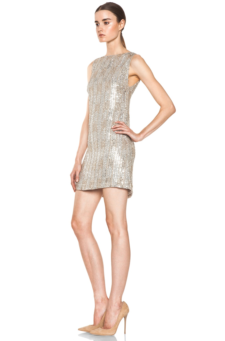 Image 2 of Alice + Olivia Leighton Embellished A Line Dress in Silver & Gold