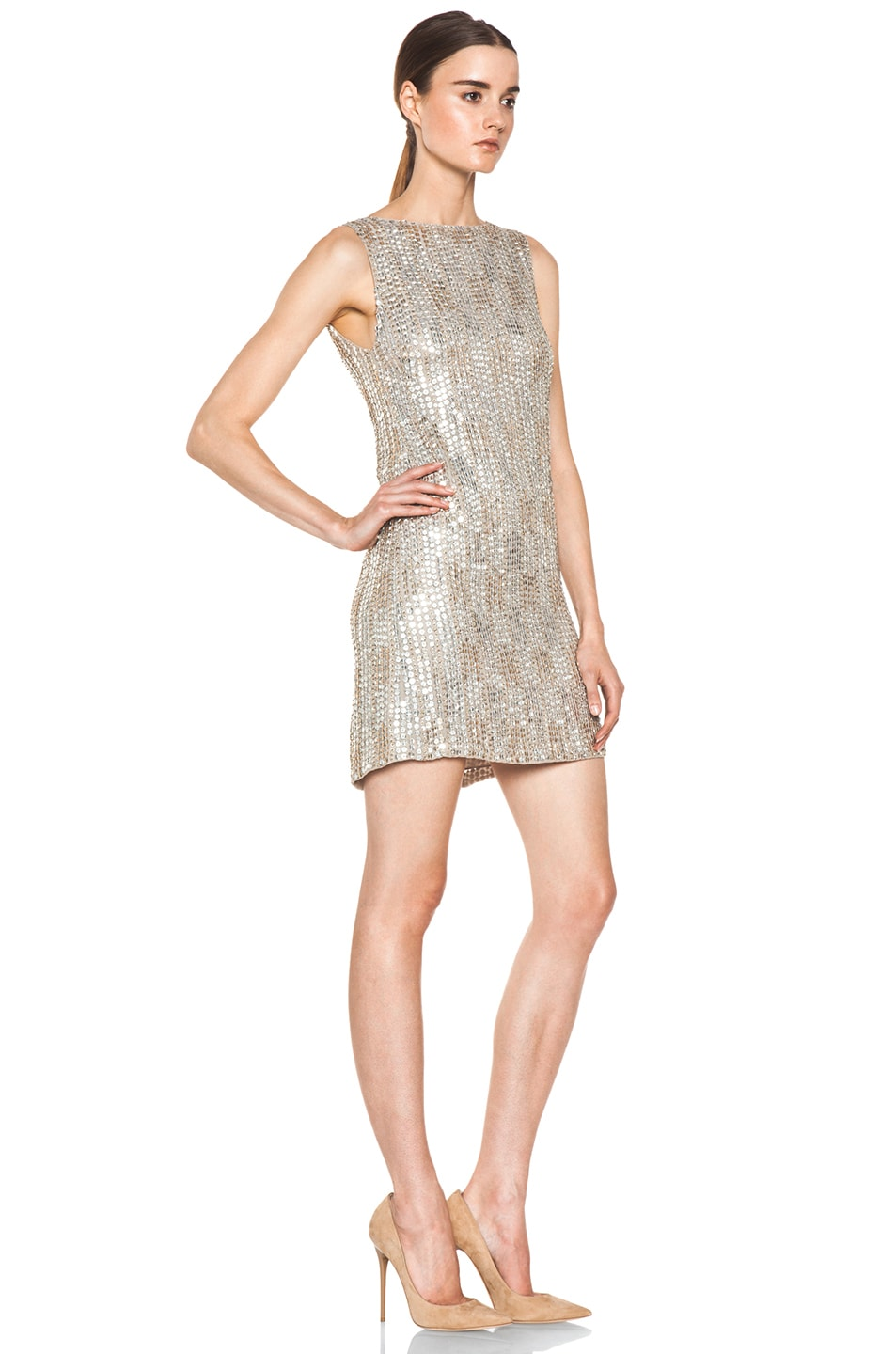Image 3 of Alice + Olivia Leighton Embellished A Line Dress in Silver & Gold