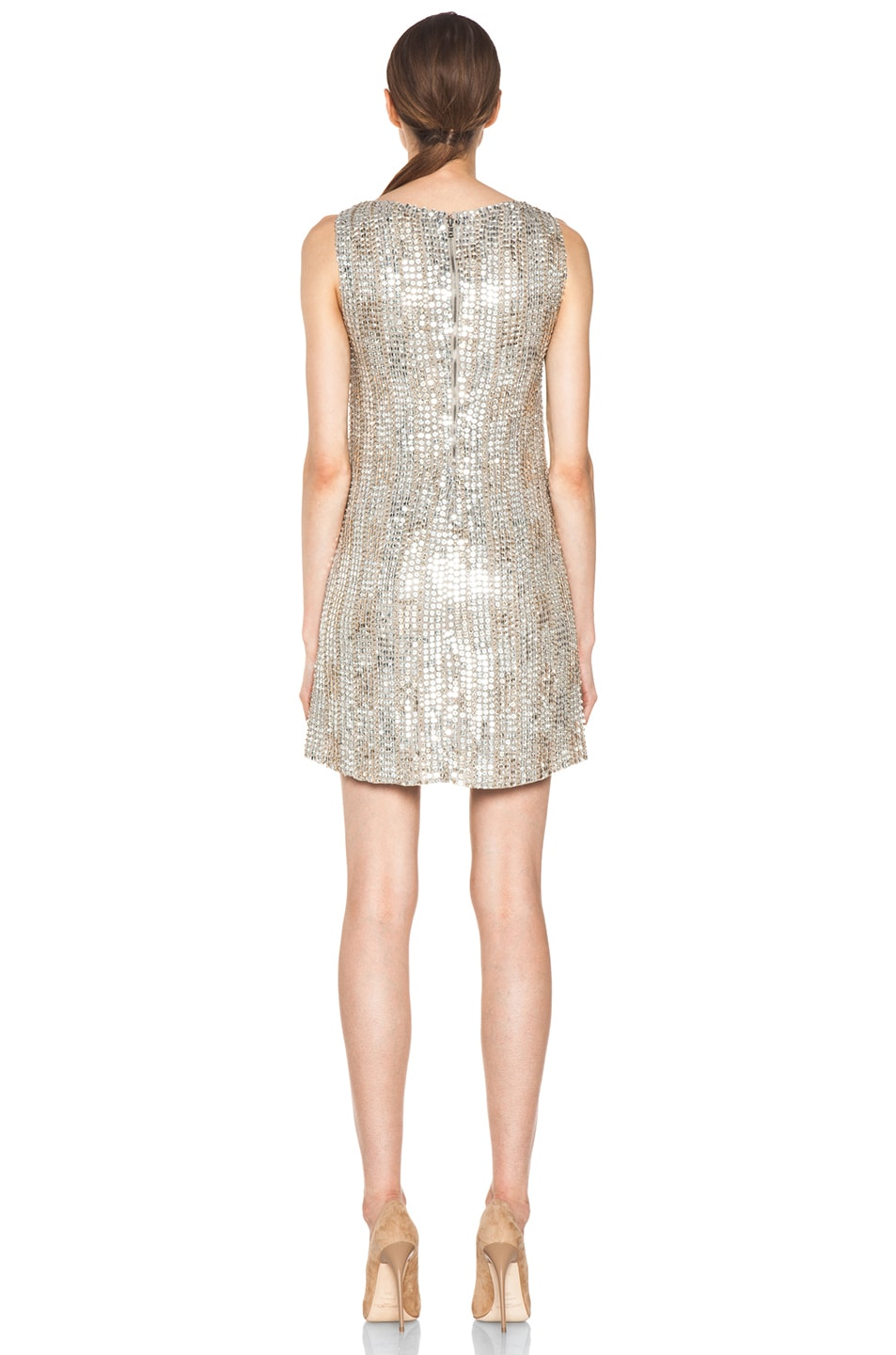 Image 4 of Alice + Olivia Leighton Embellished A Line Dress in Silver & Gold