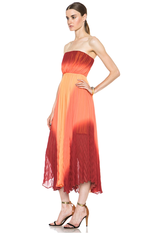 Image 2 of Alice + Olivia Uma Pleated Poly Dress in Orange Ombre