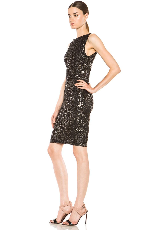 Image 2 of Alice + Olivia Kimber Sequin Dress in Gunmetal