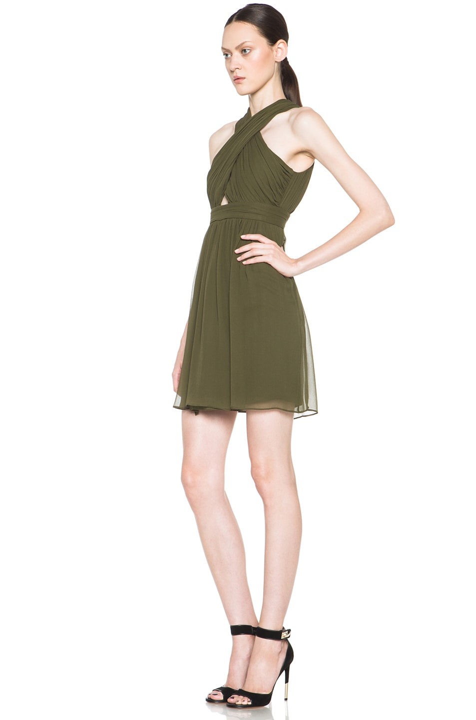 Image 2 of Alice + Olivia Caldwell Silk Tulip Skirt Dress in Army