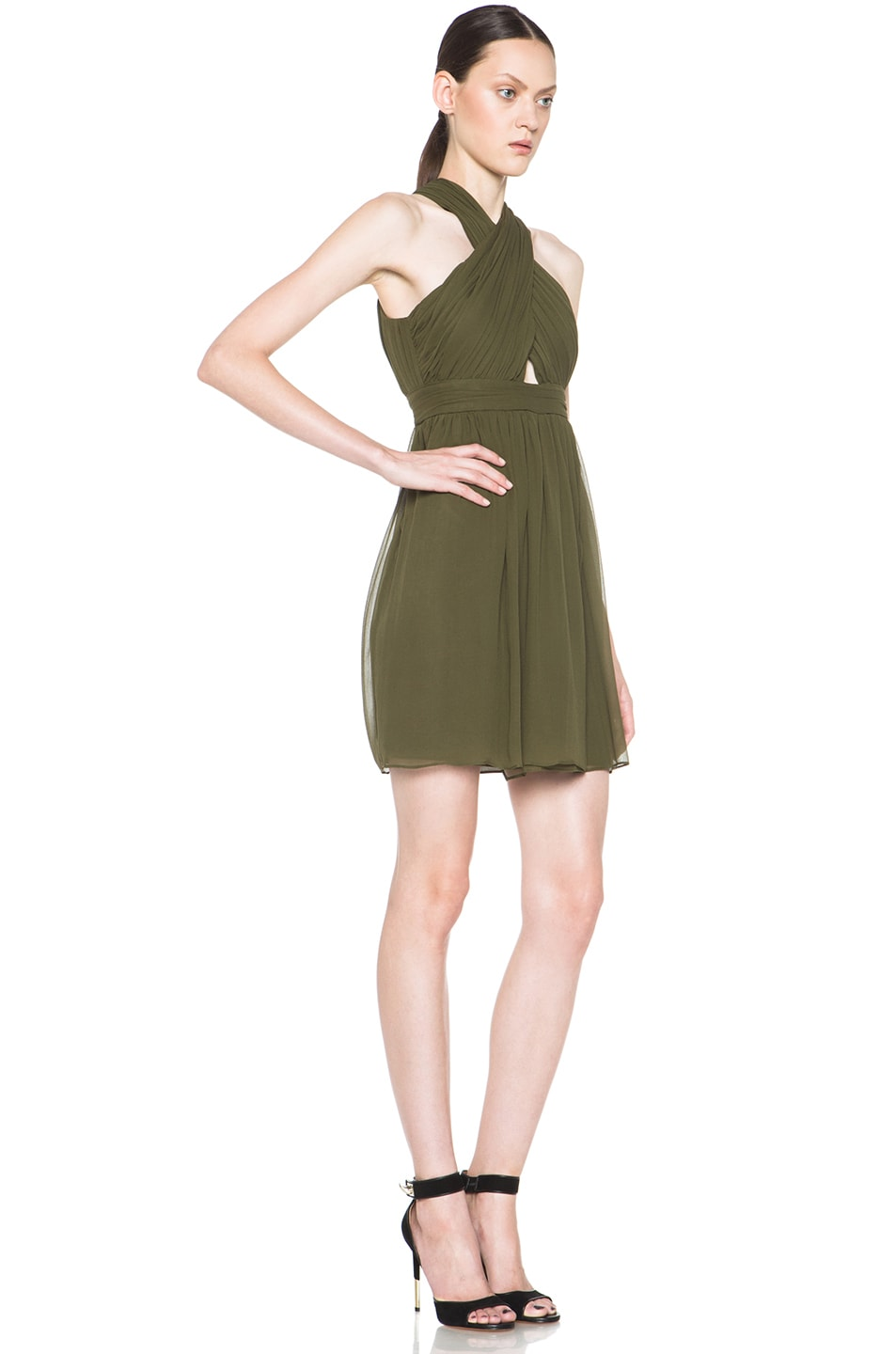 Image 3 of Alice + Olivia Caldwell Silk Tulip Skirt Dress in Army