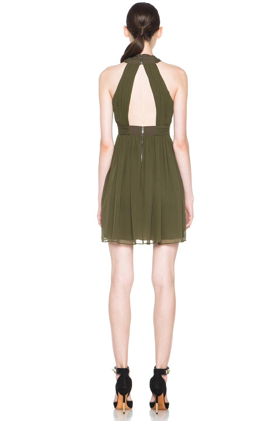 Image 4 of Alice + Olivia Caldwell Silk Tulip Skirt Dress in Army