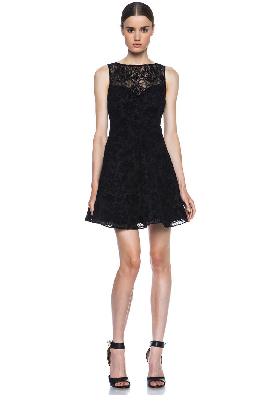 Image 1 of Alice + Olivia Natalia Lace Knit Dress in Black