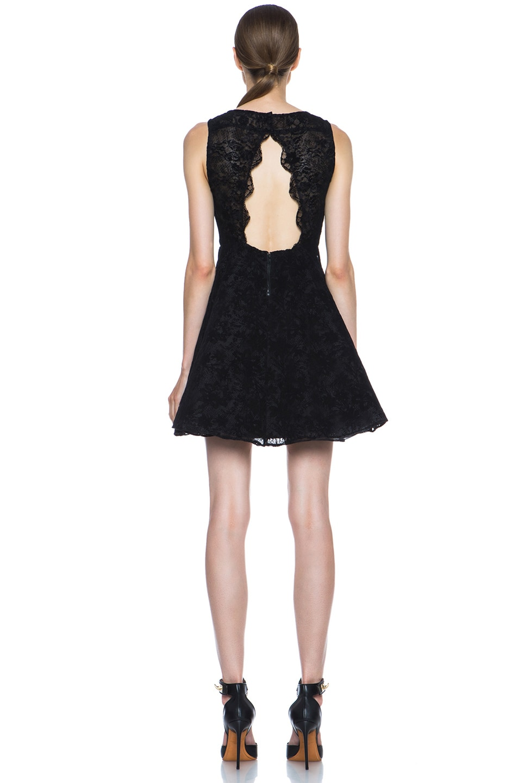 Image 4 of Alice + Olivia Natalia Lace Knit Dress in Black