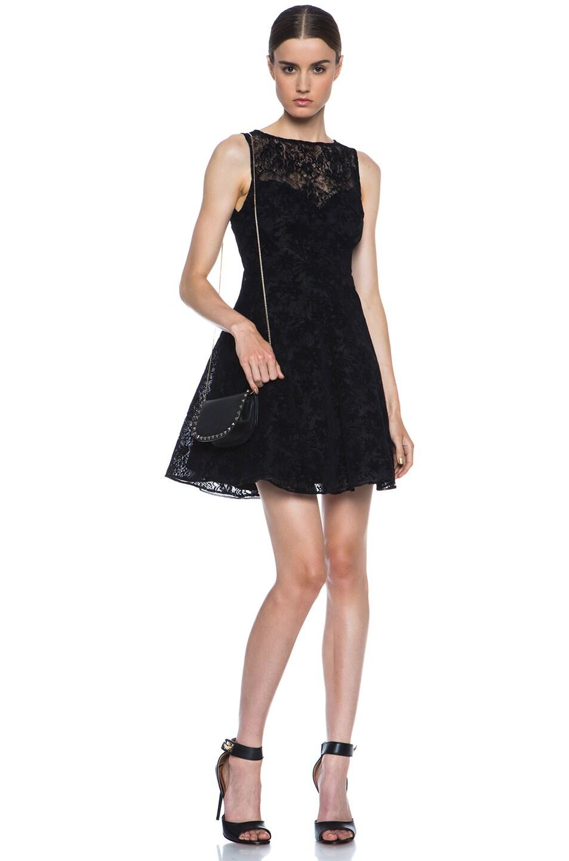 Image 5 of Alice + Olivia Natalia Lace Knit Dress in Black