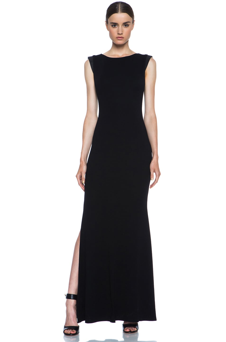 Image 1 of Alice + Olivia Joi Maxi Dress with Leather Shoulders in Black