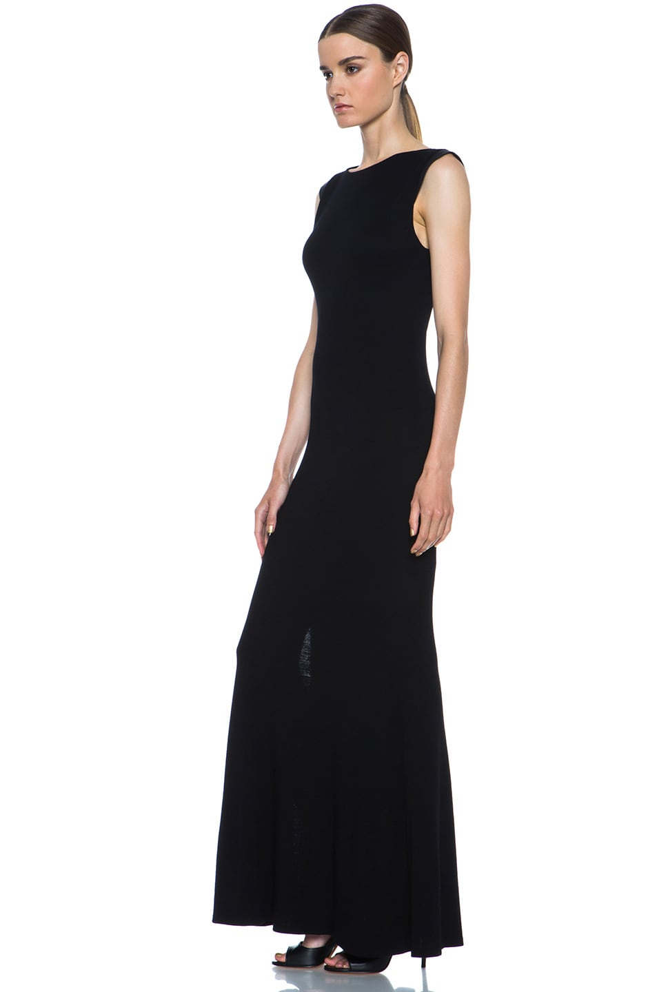 Image 2 of Alice + Olivia Joi Maxi Dress with Leather Shoulders in Black