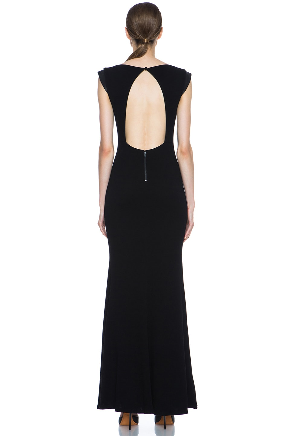 Image 4 of Alice + Olivia Joi Maxi Dress with Leather Shoulders in Black