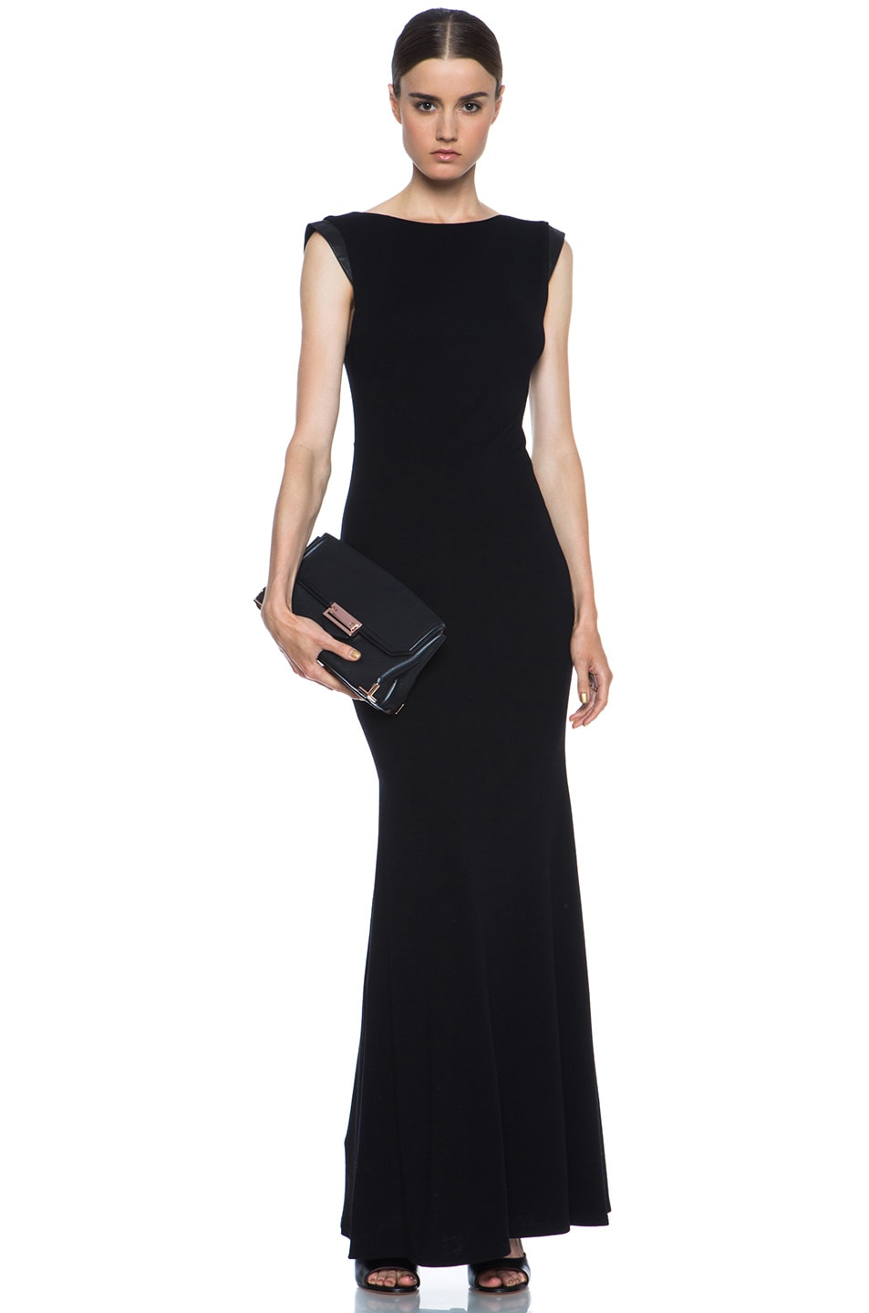 Image 5 of Alice + Olivia Joi Maxi Dress with Leather Shoulders in Black
