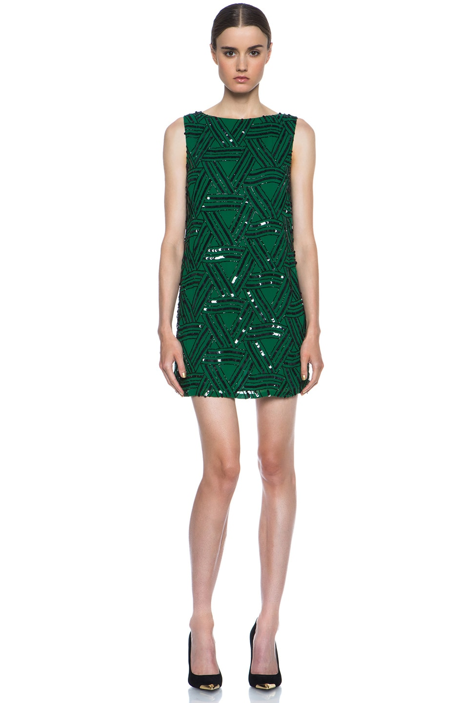 Image 1 of Alice + Olivia Elliotte Embellished Silk Shift Dress in Juniper