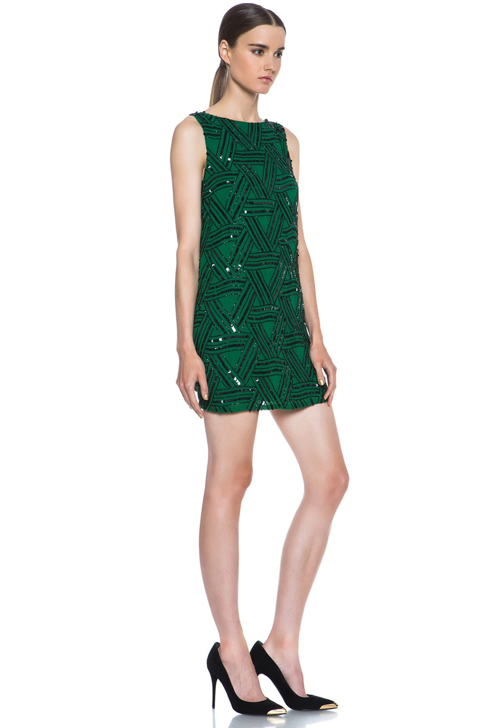 Image 3 of Alice + Olivia Elliotte Embellished Silk Shift Dress in Juniper