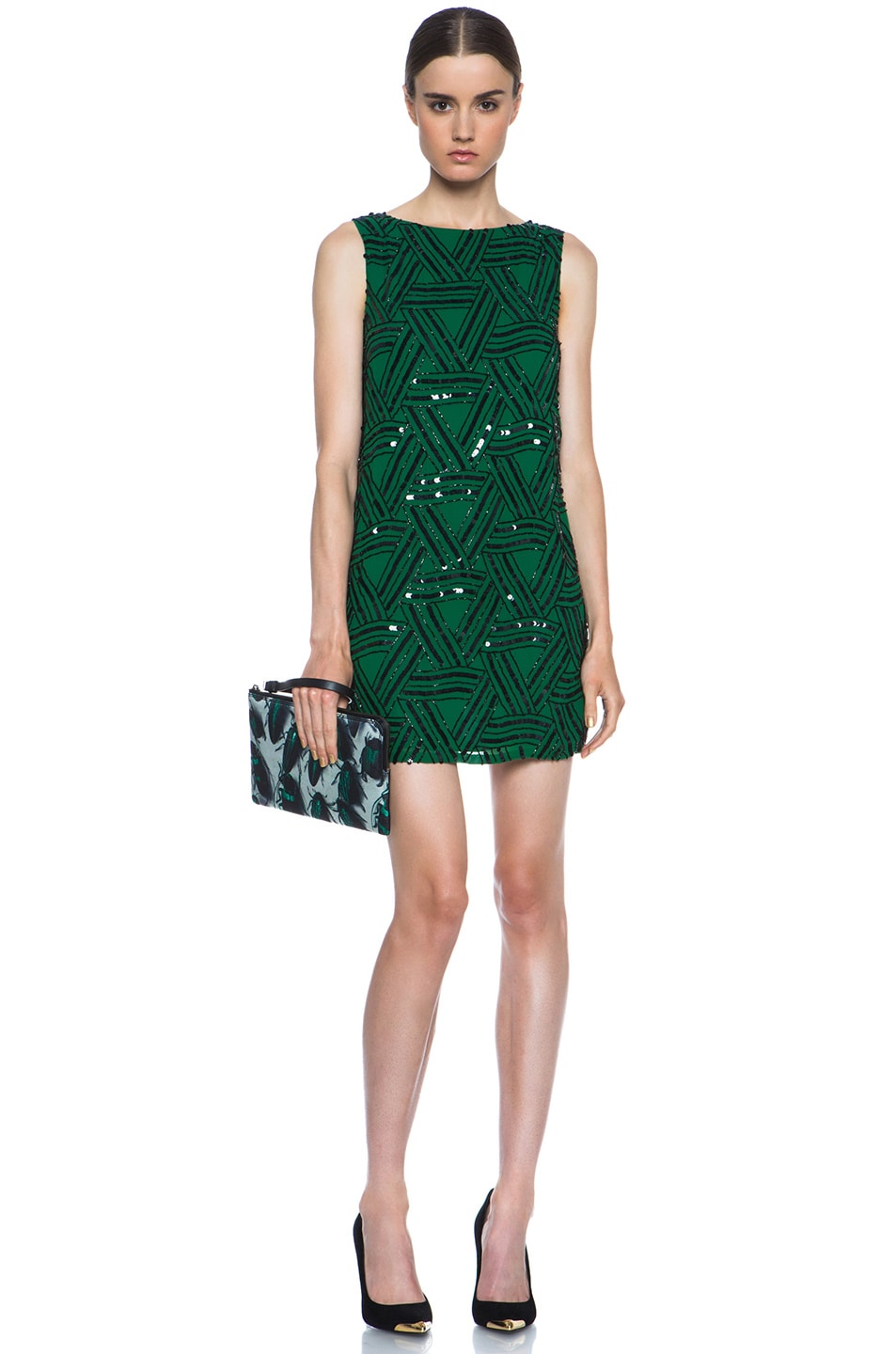 Image 5 of Alice + Olivia Elliotte Embellished Silk Shift Dress in Juniper
