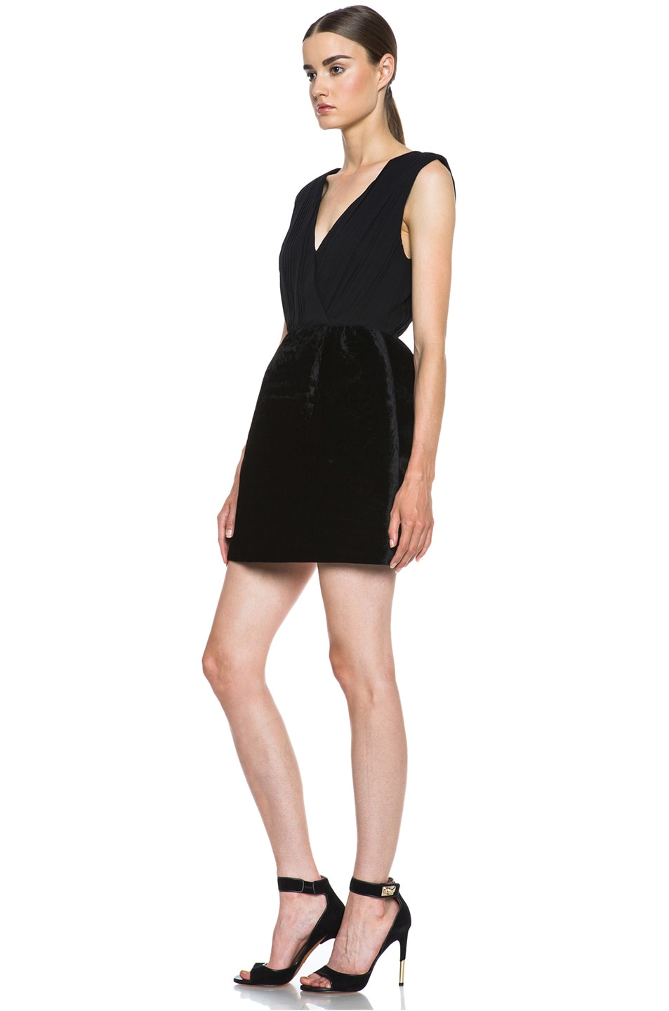 Image 2 of Alice + Olivia Riva Pouf Silk-Blend Dress in Black