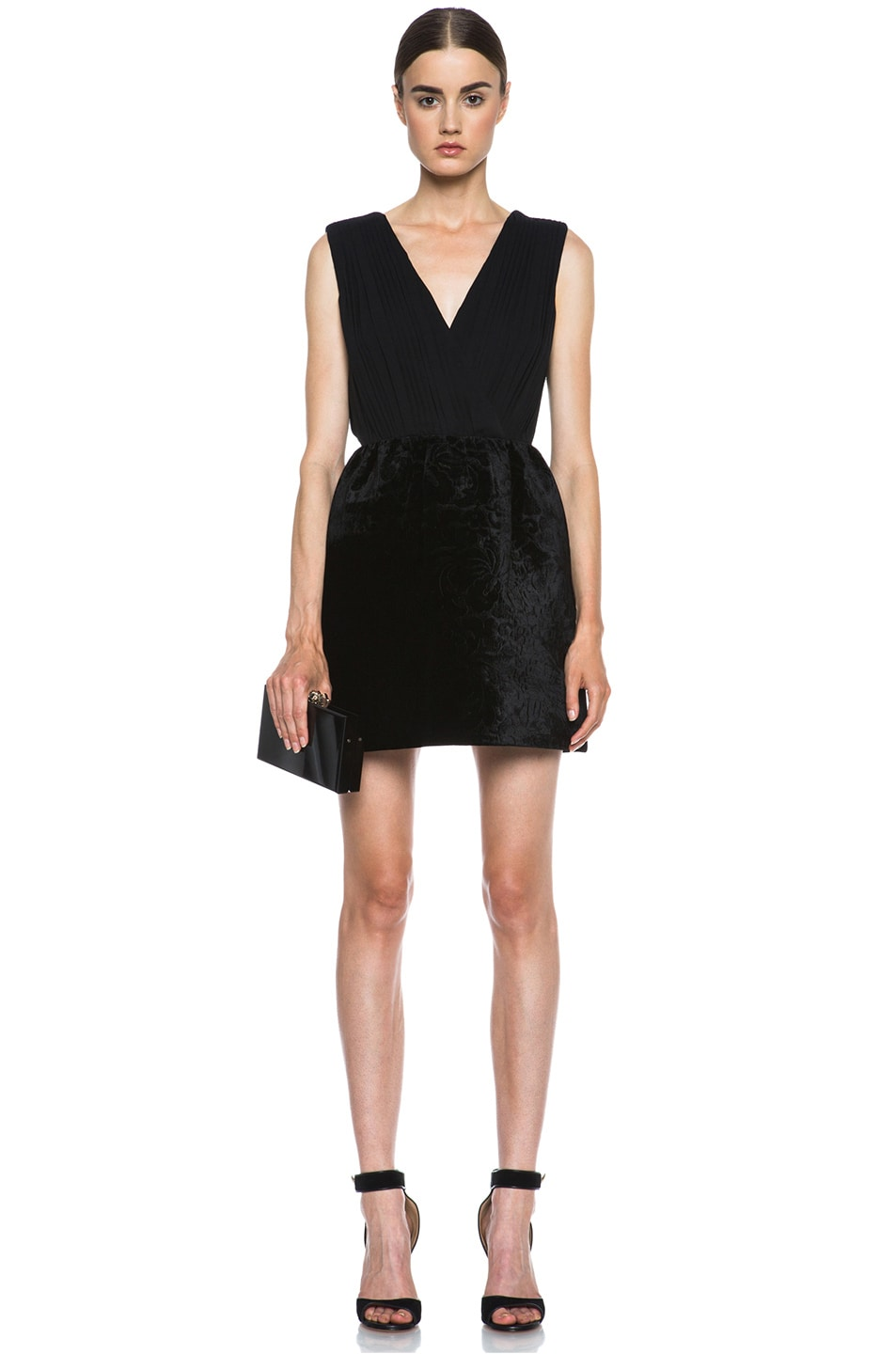 Image 5 of Alice + Olivia Riva Pouf Silk-Blend Dress in Black