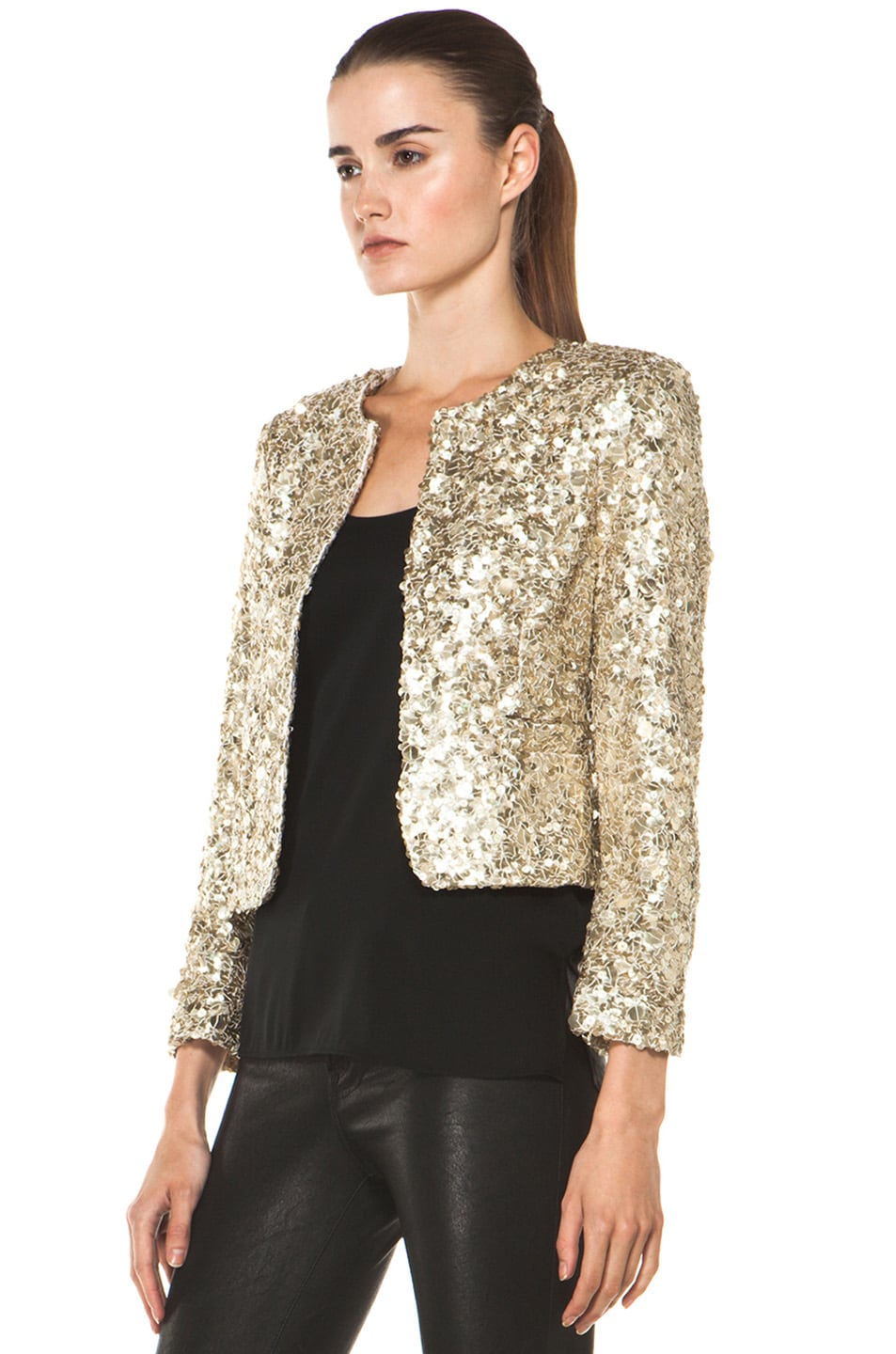 Image 2 of Alice + Olivia Brianna Open Front Sequin Jacket in Gold