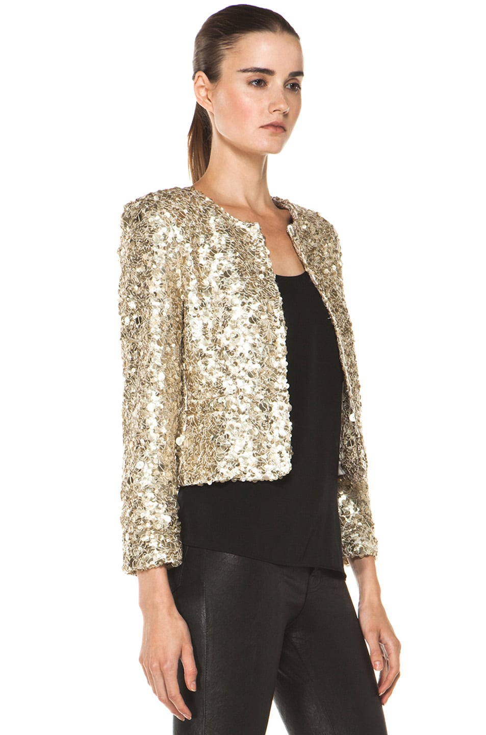 Image 3 of Alice + Olivia Brianna Open Front Sequin Jacket in Gold