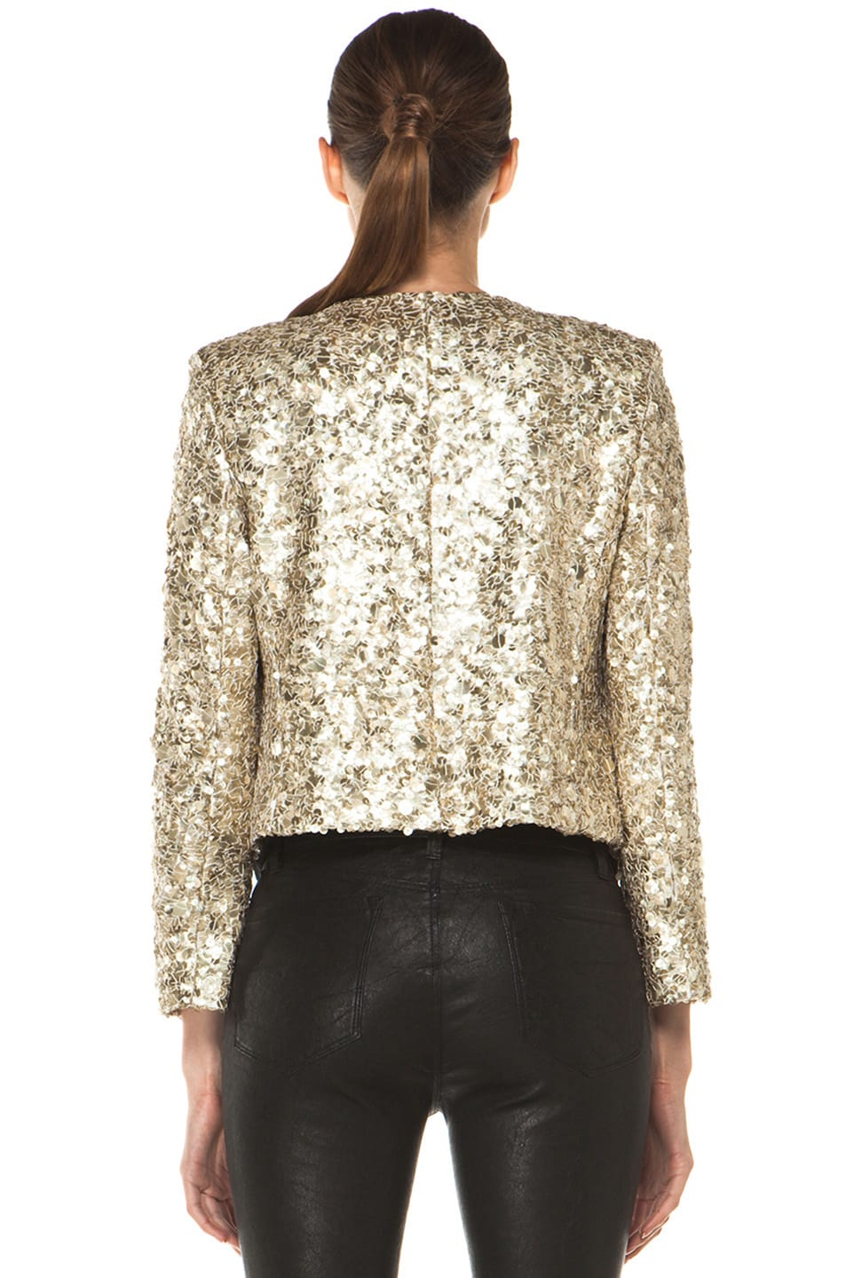 Image 4 of Alice + Olivia Brianna Open Front Sequin Jacket in Gold
