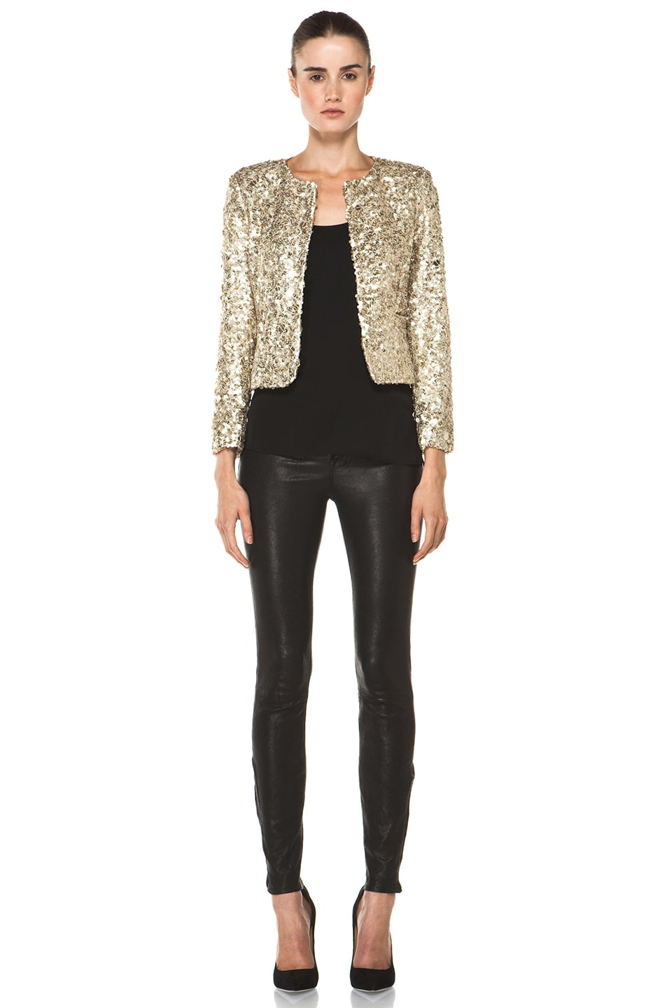 Image 5 of Alice + Olivia Brianna Open Front Sequin Jacket in Gold