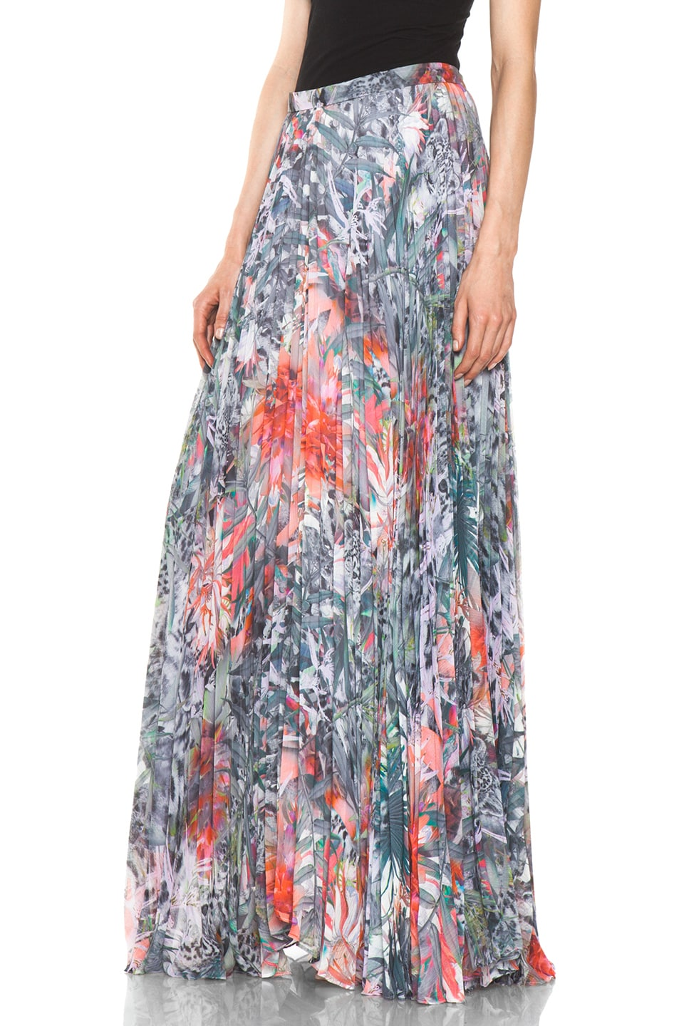 Image 2 of Alice + Olivia Shannon Pleated Maxi Skirt in Snow Leopard
