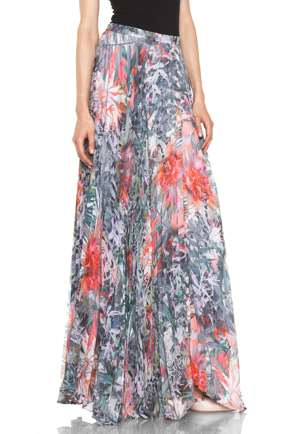 Image 3 of Alice + Olivia Shannon Pleated Maxi Skirt in Snow Leopard