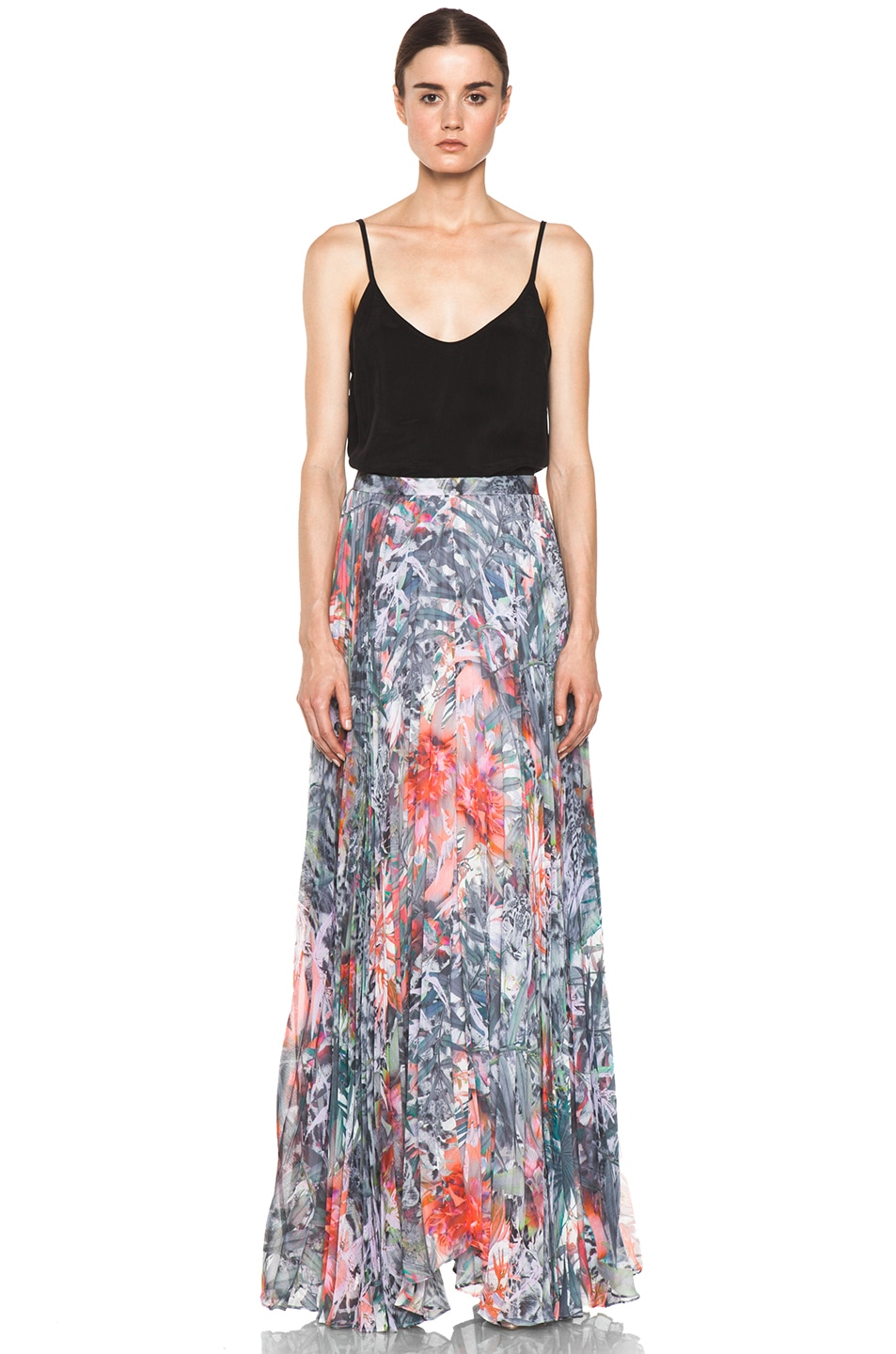 Image 5 of Alice + Olivia Shannon Pleated Maxi Skirt in Snow Leopard