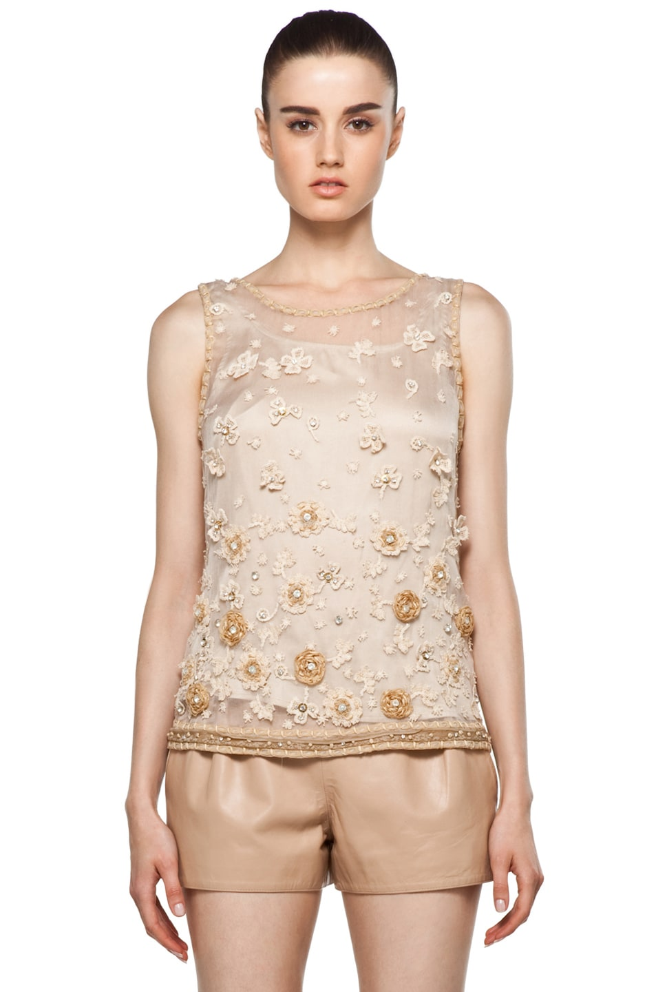 Image 1 of Alice + Olivia Garland Tank in Nude