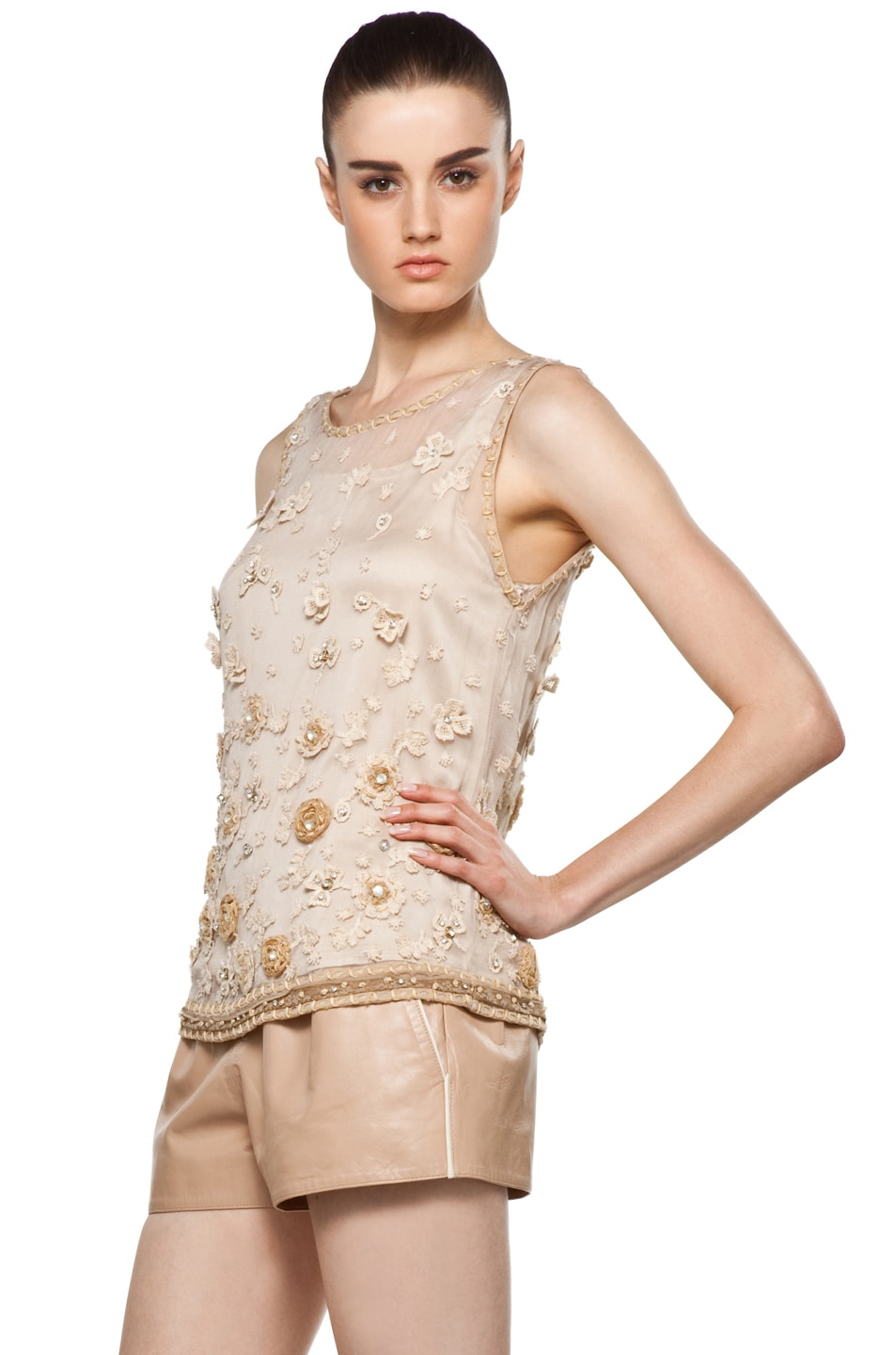 Image 2 of Alice + Olivia Garland Tank in Nude