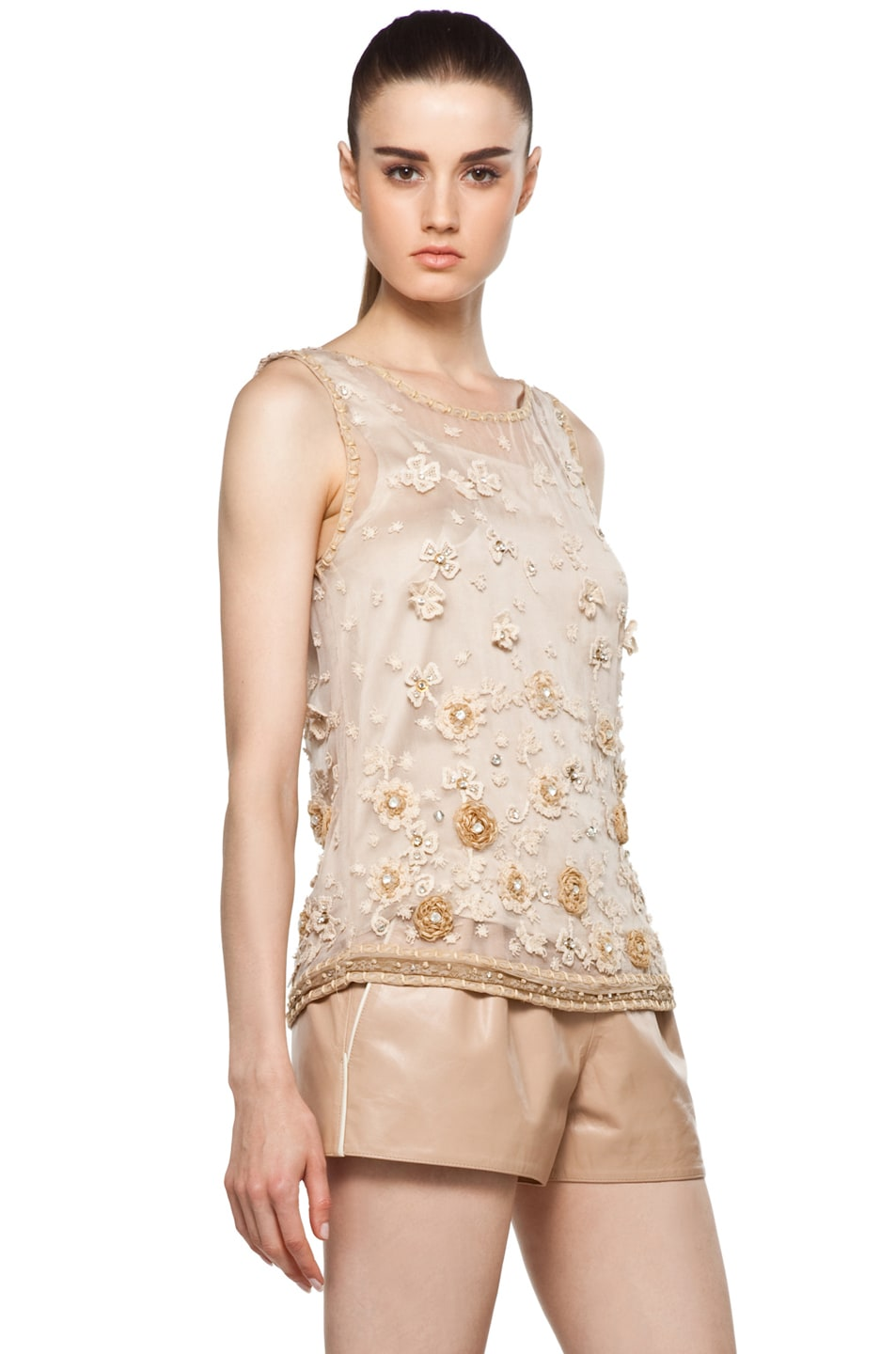 Image 3 of Alice + Olivia Garland Tank in Nude
