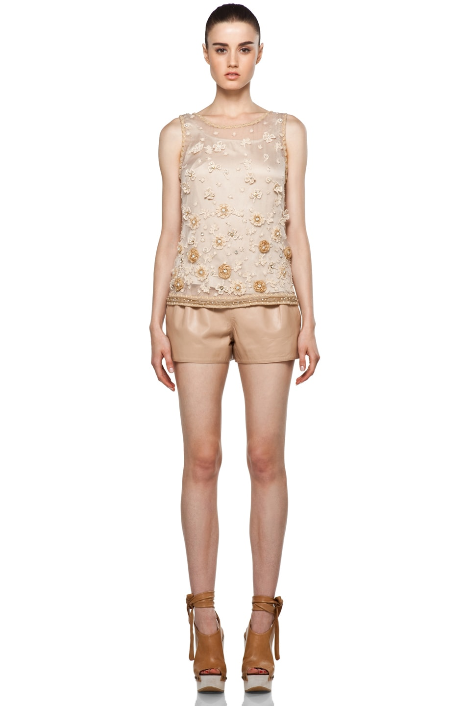 Image 5 of Alice + Olivia Garland Tank in Nude