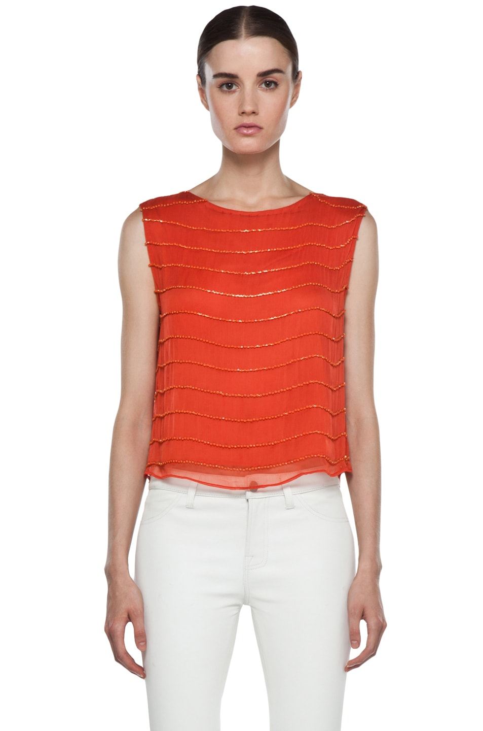 Image 1 of Alice + Olivia Mandy Chain Embellished Top in Orange