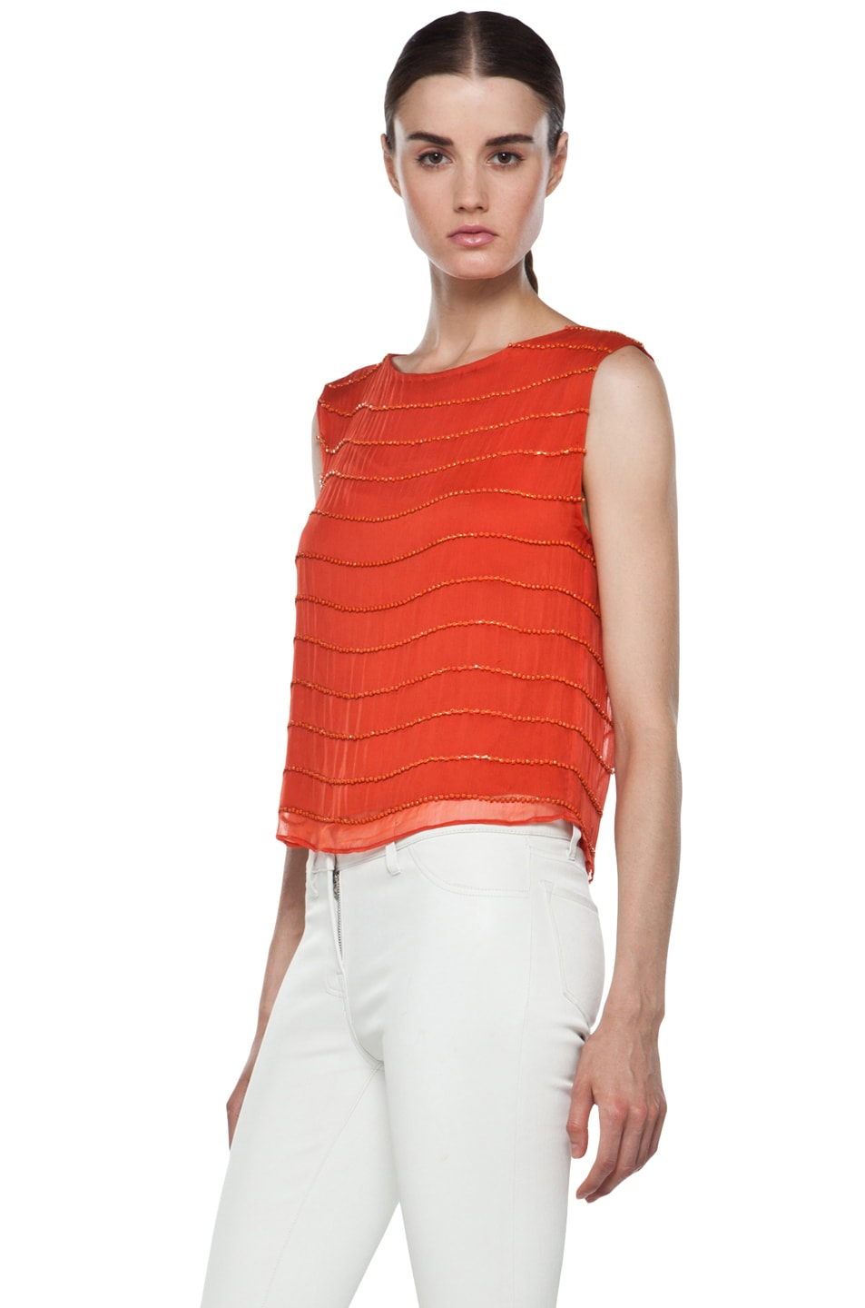 Image 2 of Alice + Olivia Mandy Chain Embellished Top in Orange