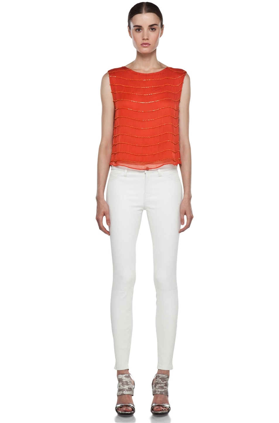 Image 5 of Alice + Olivia Mandy Chain Embellished Top in Orange
