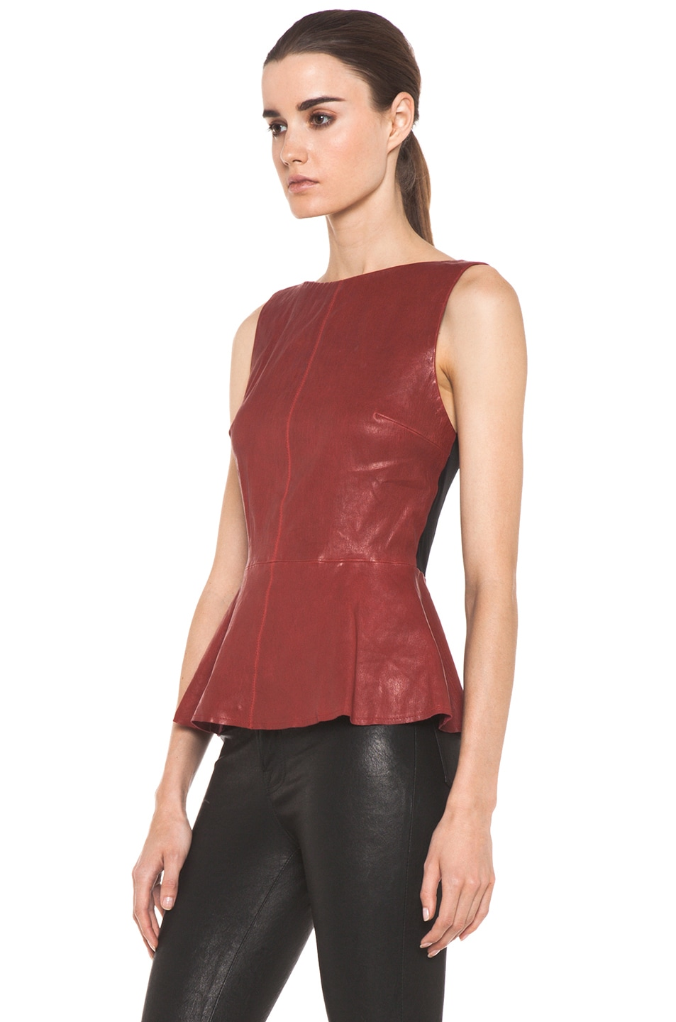 Image 2 of Alice + Olivia Martin Peplum Top in Red