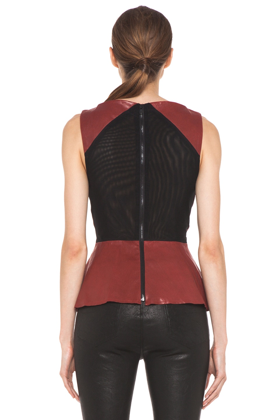 Image 4 of Alice + Olivia Martin Peplum Top in Red