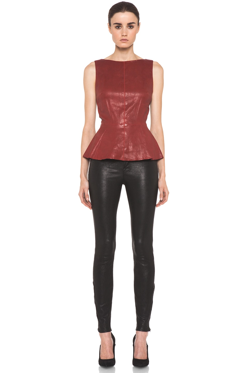 Image 5 of Alice + Olivia Martin Peplum Top in Red